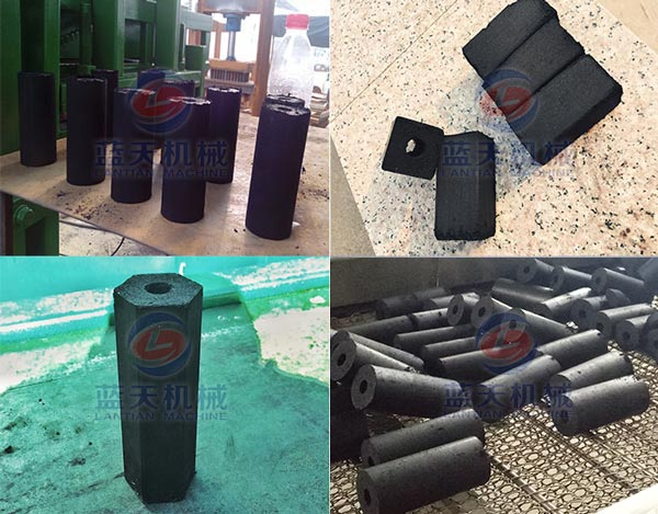 Finished products of briquette charcoal machine