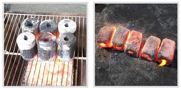 Burning effect of charcoal briquette making machine