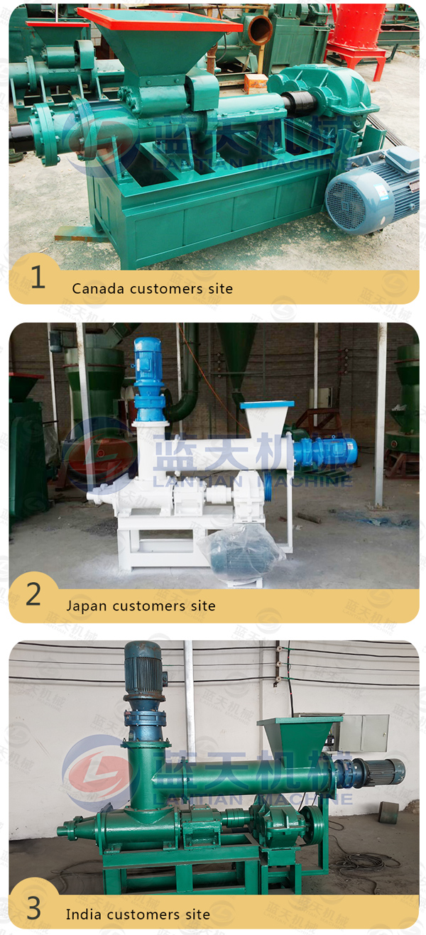 Customers site of charcoal extruder